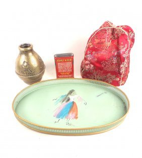 3 Tin Or Brass Items, Chinese Tea Cozy