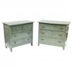 Two Faux Shagreen Chests Of Drawers