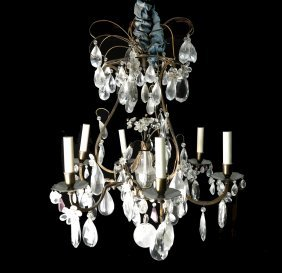 French Crystal & Gilt Bronze Chandelier
