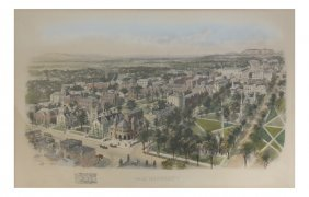 Yale University Hand-colored Lithograph