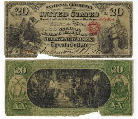 U.s. 1865 $20 National Bank Note