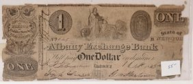 Albany Exchange Bank $1 Obsolete Note