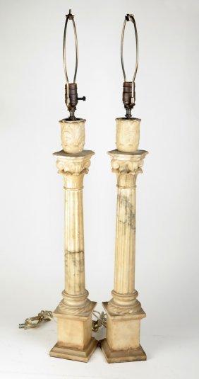 Pair Of Alabaster Column Lamps