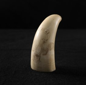 "Whale Tooth Scrimshaw, Bald Eagle ""1841"""
