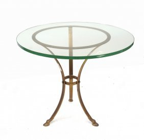 Glass Top Brass Occasional Table