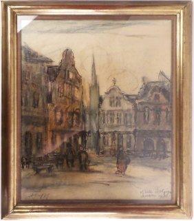 August Oleffe, Village Scene, Watercolor