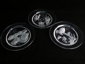 Three Daum Etched Glass Plates