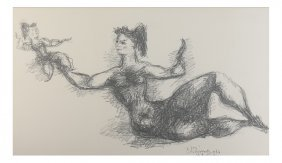 Chaim Gross, Litho - Mother And Child