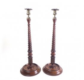 Pair Antique Turned Walnut Candlesticks