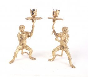 Pr. Continental Gilt Bronze Candlesticks