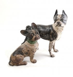 Two Iron Dog-form Doorstops