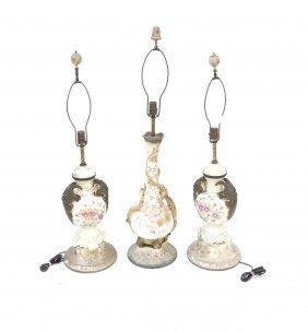 Three Decorated Ceramic Lamps