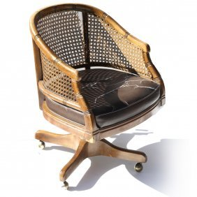 Bamboo-style Caned Back Office Chair