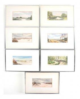 Series Of 7 Landscape Scenes, Watercolor