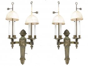Pair Of Two Arm Bronze Sconces