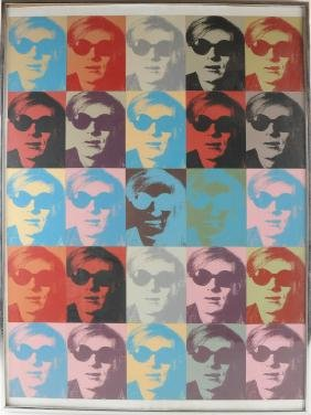Collage Of Twenty-five Silkscreen Andy Warhol Portraits