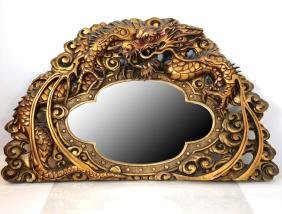 Gilt Wood Dragon Carved Mirror