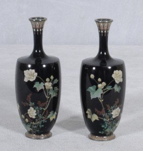 PR. OF VERY FINE JAPANESE BLUE CLOISONNE VASES WITH