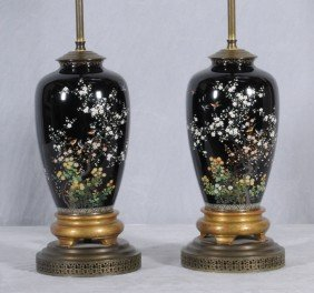 PR. VERY FINE ANTIQUE JAPANESE CLOISONNE VASES /LAM