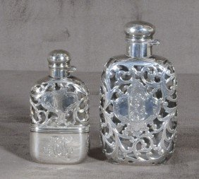 2 LADIES SILVER OVERLAY & GLASS FLASKS. BOTH HAVE S