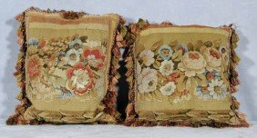 PR. OF ANTIQUE FRENCH AUBUSSON PILLOWS. MULTI-COLO