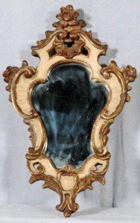 SMALL GILT AND WHITE PAINTED  SHAPED WALL MIRROR. S