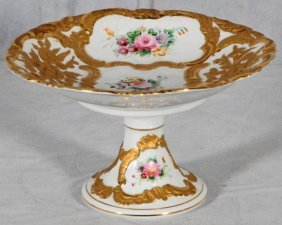 WHITE PORCELAIN COMPOTE.  RAISED GILT DECORATION W/
