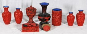 9 PCS OF RED CINNABAR LACQUER.  CONSISTING OF VASES