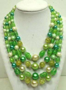 Vintage 4 Strand Art Glass Necklace