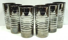 6pc Silver Overlay Glasses