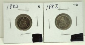 (2) 1883 Seated Dimes