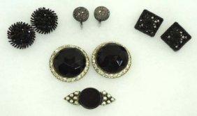 Black Vtg Glass Earrings & 1 Pin