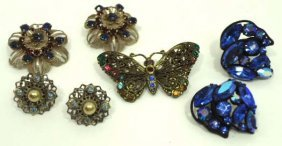 Lovely Vtg Rhin. Butterfly & Earring Jew.