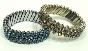 2 Vtg. Prong Set Stretch Bracelets