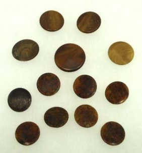 13 Textured Top Vict. Tortoise Shell Like Buttons