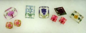 7 Pc. Vtg. Rev. Carved Floral Pins & Earrings
