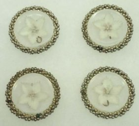 4 Vtg. Carved Heavy Lucite Buttons