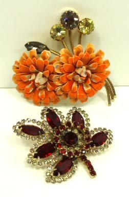2 Vtg. Floral Weiss Brooches