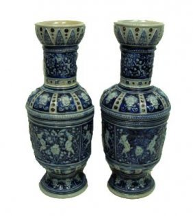 Pr. Blue & Gray Stoneware Vases