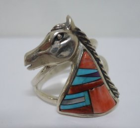 Zuni Turquoise & Silver Horse Ring