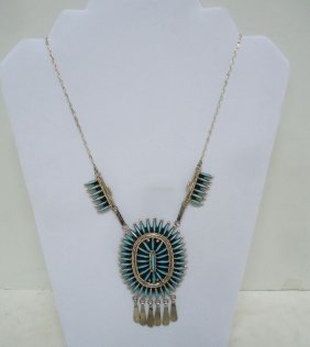 Zuni Needle Pt Turq. Silver Necklace