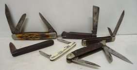 6 Misc. Pocket Knives Keen Kutter, Camillus, Solingen,