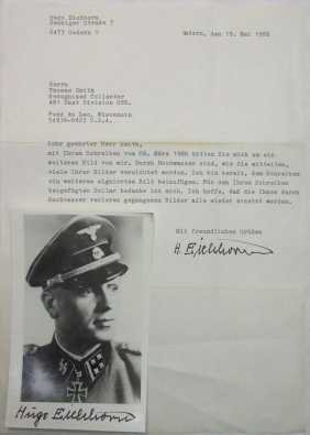 Autographed Letter & Photo German Ss Officer