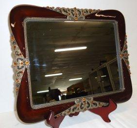 Jeweled Mirrored Dresser Tray