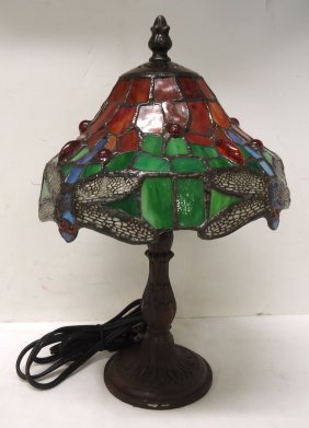 Modern Leaded Glass Dragonfly Lamp