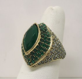 Sterling Emerald & Marcasite Ring