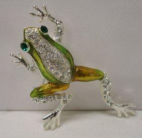 Enameled Rhinestone Frog Brooch