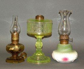 2 Miniature & 1 Pedestal Kerosene Lamps