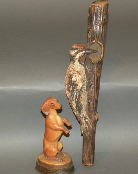 Anri Dog Carving & Folk Art Woodpecker