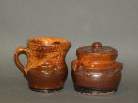 Schofield Redware Creamer & Pot